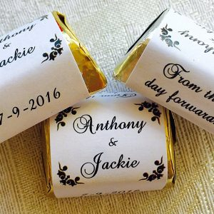 Personalized Favors for WEDDING party or event! 120 RED DAMASK silver foil wrappersstickerslabels for your Hershey Nugget Chocolates