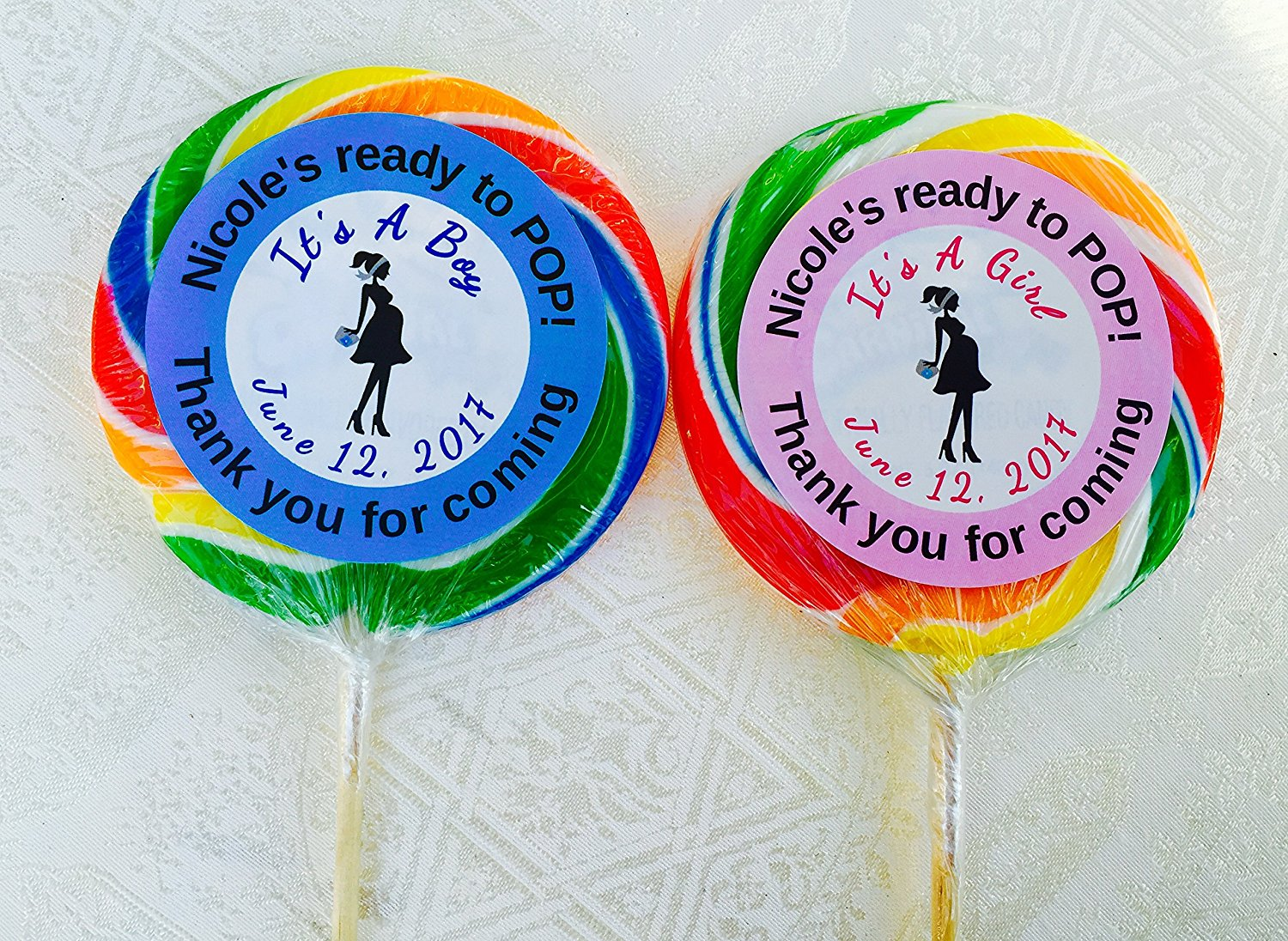 """10 XLARGE 4/"""" LOLLIPOPS Personalized 4 kid birthday party ideas Girl//Boy Favors"""