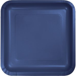 36-Pack Navy Blue Square 9-inch Dinner Paper Plates for Wedding Birthday Party Bridal Shower u2013 Paper Disposable Supply  sc 1 st  Just For My Party : rectangle paper plates - pezcame.com