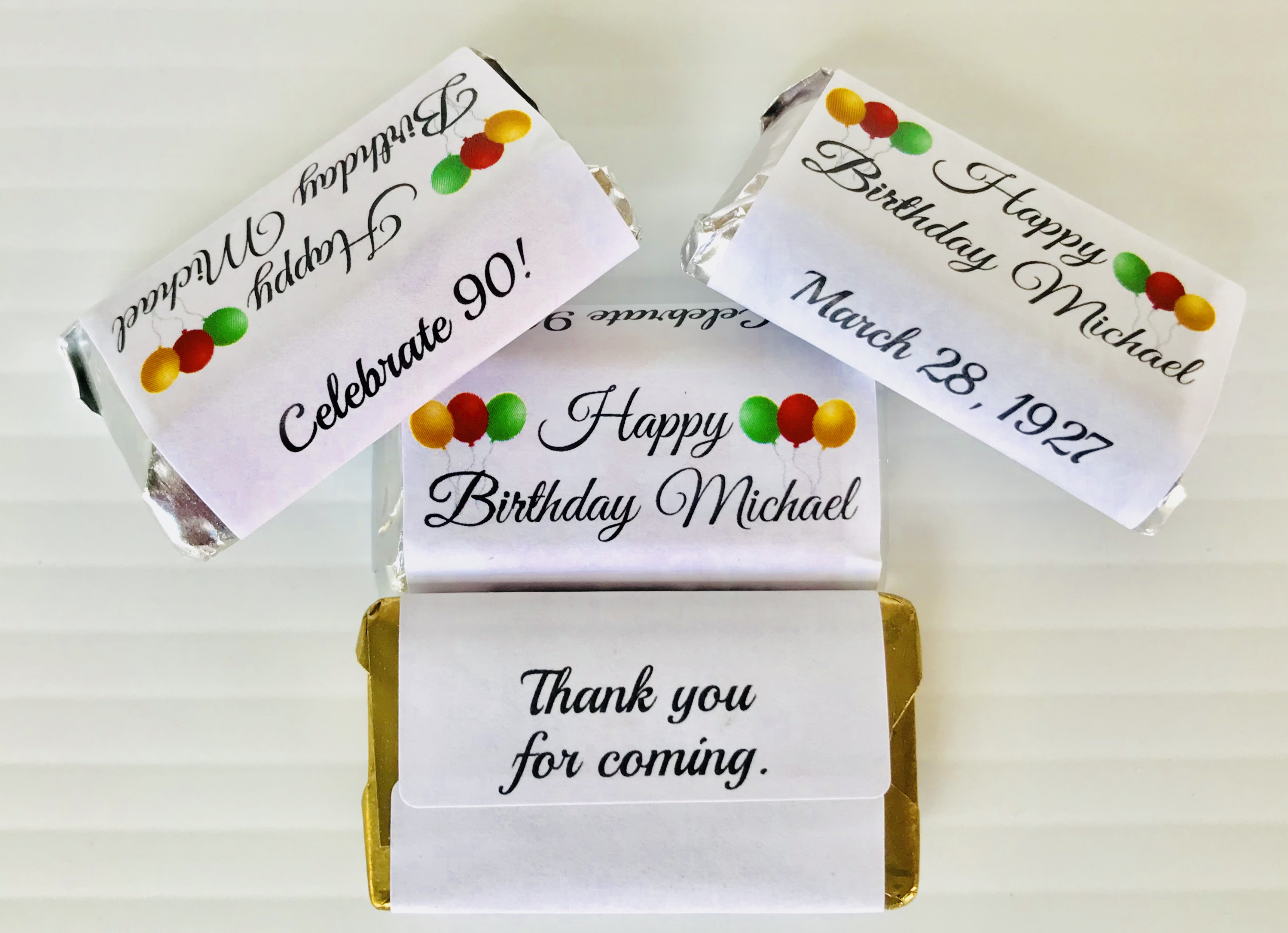 72 Birthday Personalized Adhesive wrappers for your HERSHEY ...